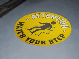 """Watch Your Step"" Floor Graphic Marker"