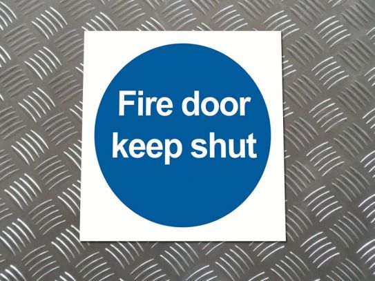 """Fire Door Keep Shut"" Mandatory Site Safety Sign"