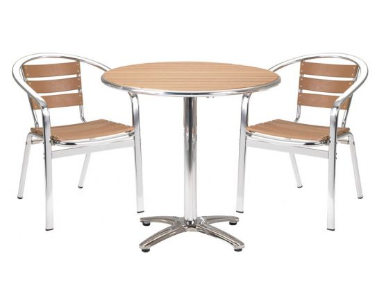Paulo Circular Cafe Table with Two Chairs