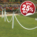 White plastic chain and posts