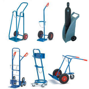 Steel gas bottle trolleys