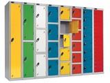 Colourful school storage lockers